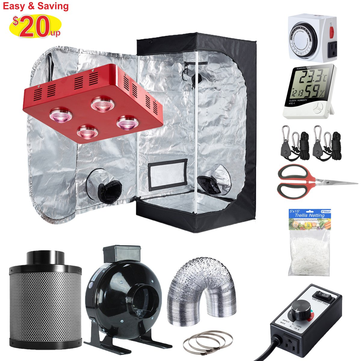 Hydro Plus Grow Tent Complete Kit LED 800W Grow Light + 4  Filter Fan Kit + 24 x24 x48  Grow Tent Room + Hydroponic Indoor Plants Growing System Accessories ...  sc 1 st  Amazon.com & Amazon.com : Hydro Plus Grow Tent Complete Kit LED 800W Grow Light + ...