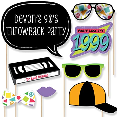 Big Dot of Happiness Custom Throwback 90's Photo Booth Props - Personalized  1990's Party Supplies - 90's Theme Party - 20 Selfie Props