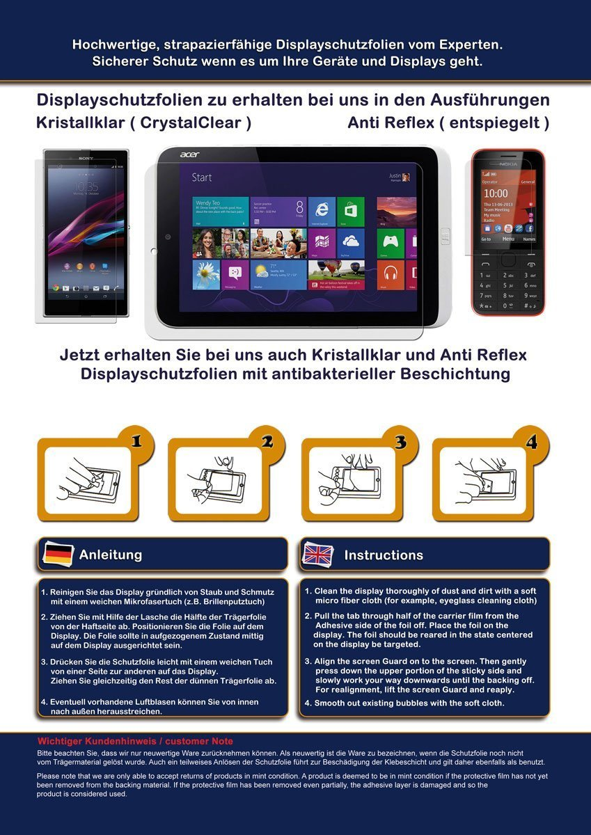 Displayschutzfolie f/ür A-Rival Teasi One4 - Schutz Folie seidenmatte Premium Folie Antireflex 3 St/ück Antifingerprint Schutzfolie