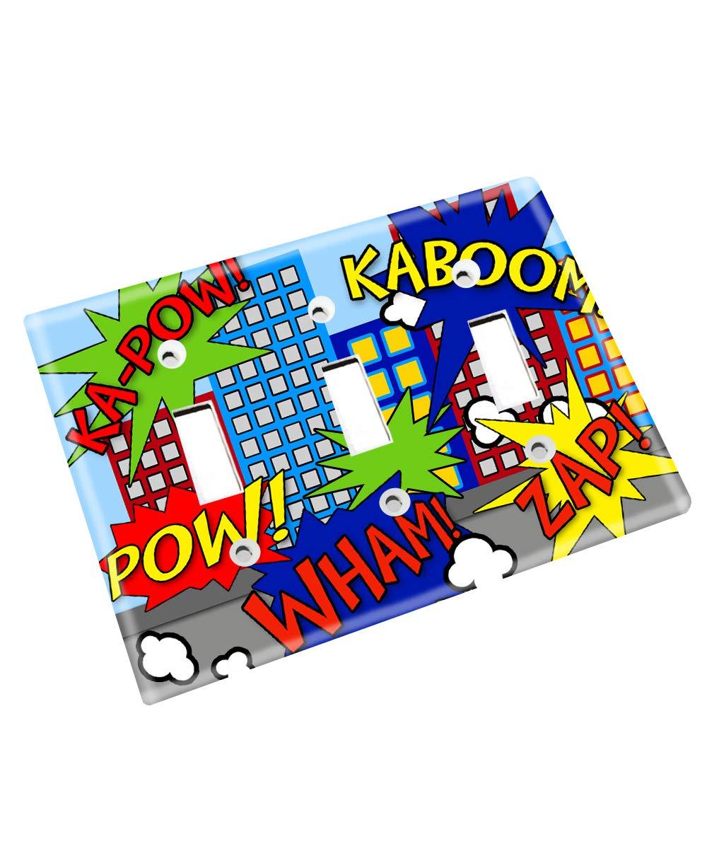 Super Hero Boys Kids Bedroom Baby Nursery Single Light Switch Cover LS0059 (Triple Standard)