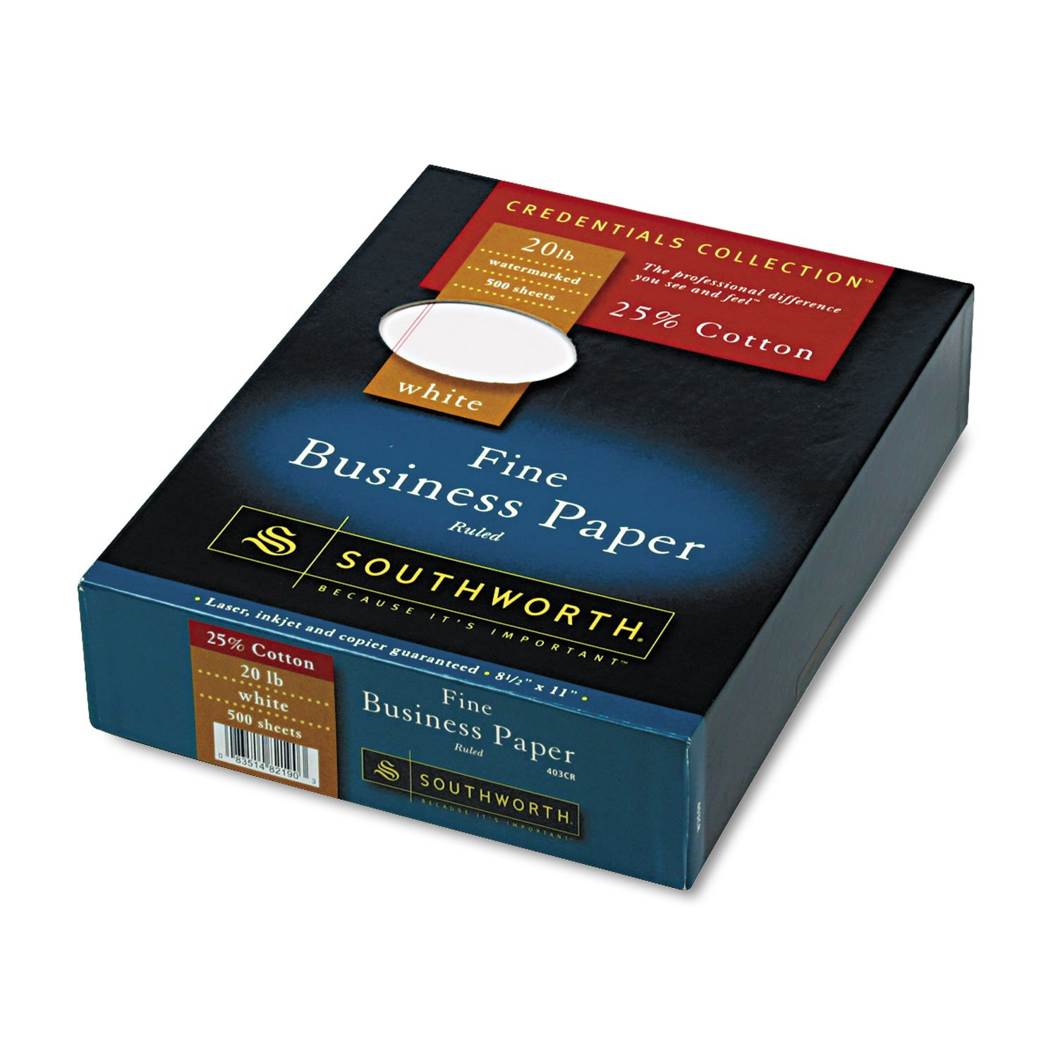 Southworth 403CR 25% Cotton Business Paper, 20 lbs, 8-1/2 x 11, White w/Red Rules, 500/Box