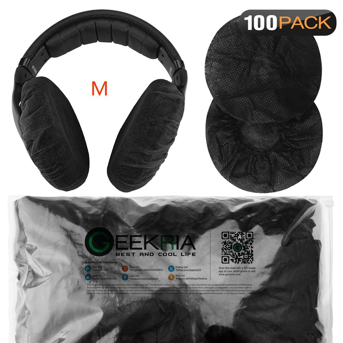 Stretchable Headphone Covers / Disposable Sanitary Earcup Earpad Covers Fits Medium / Large-Sized Headset 200 pcs (100 Pairs) White Geekria PJZ2406