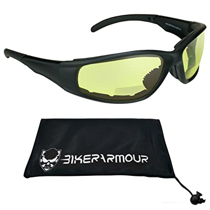 c0f952cd42 Amazon.com  ANSI Z87.1 Yellow Night Vision Motorcycle Riding Bifocal  Sunglasses foam padded 1.50 for Men and Women. Free Microfiber Cleaning  Case.