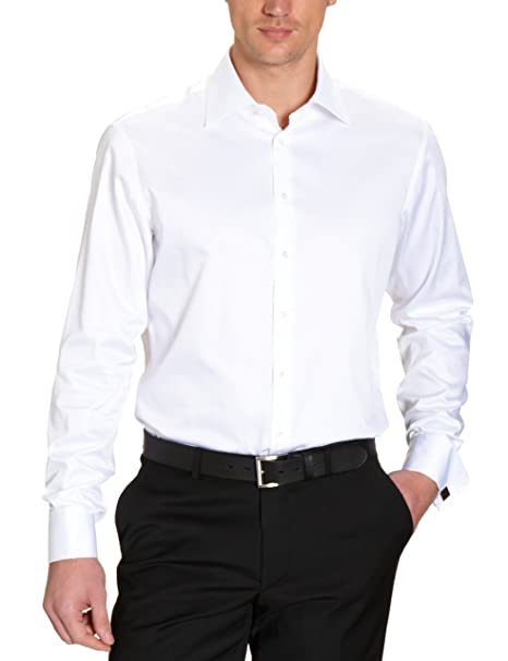 Camisa regular fit para hombre, talla 43, color Blanco 001 Jacques Britt