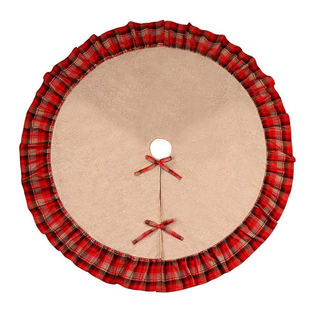 Deggod 48 inches Burlap Christmas Tree Skirt Base Cover Jute Xmas Tree Skirt Red and Black Plaid Ruffle Christmas Tree Mat Pastoral Style Ornaments for Christmas Decoration New Year Party Supply (48inches/122cm, Plaid Ruffle)