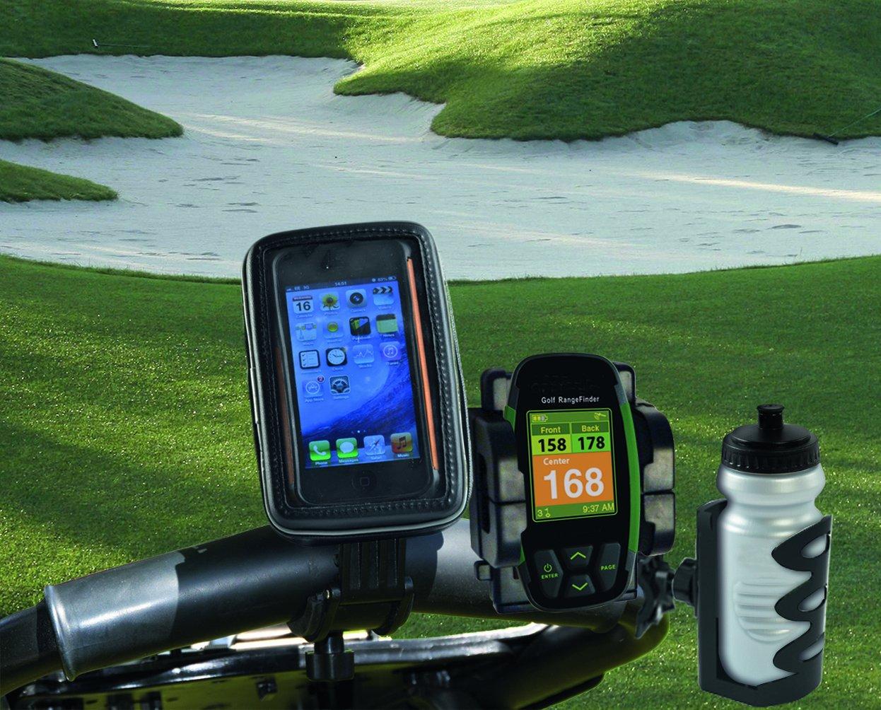 Eze Kaddy Soporte de manillar de bicicleta para GPS incluye soporte para bebida y funda protectora color negro