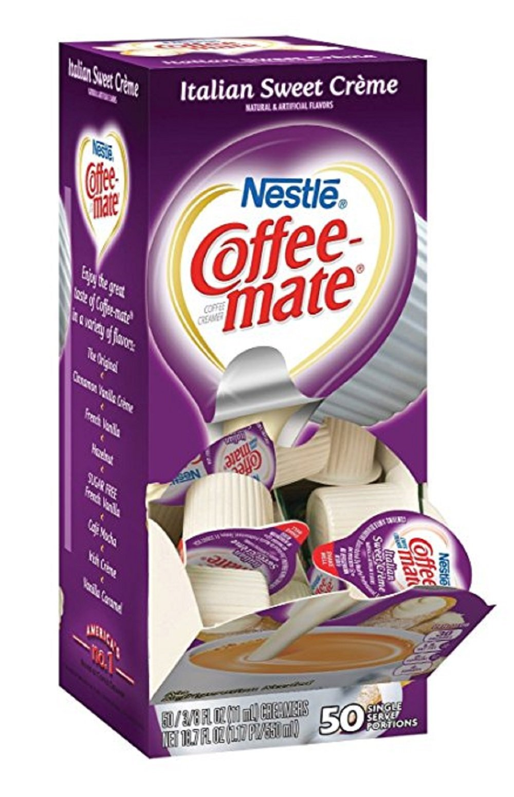 Coffee-mate Coffee Creamer, Italian Sweet Creme Liquid Singles, 50 Count (Pack of 2)