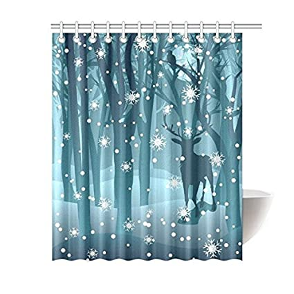 Stag In Winter Forest Reindeer Waterproof Polyester Fabric Bathroom Shower Curtain With 12 Hooks 60quot