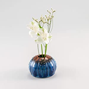 Georgetown Pottery Handmade Sea Urchin Ikebana Vase, Bud Vase, Air Plant Pot, Candlestick Holder, Hamada and Blue, Made in USA, Porcelain Ceramic