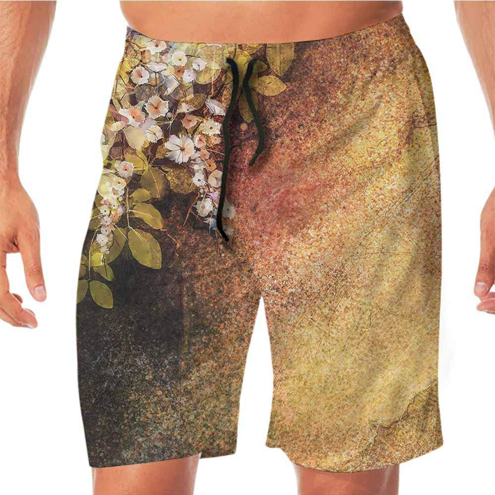 Quick-Dry Beach Running Shorts Flower,Thriving Nature Composition Workout Shorts