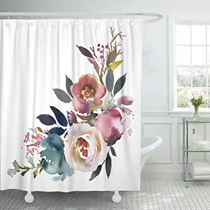 TOMPOP Shower Curtain Navy Anemone Dusk Blue Pale Pink Gray White Watercolor Floral Corner Bouquet Arrangement