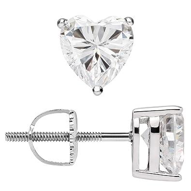 a35164086 14K Solid White Gold Earrings | Heart Cut Cubic Zirconia Stud | Screw Back  Posts