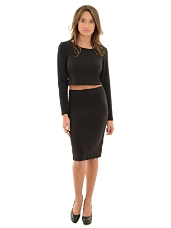 e2f838e777 Womens Long Sleeve Black Crop Top and Fitted Pencil Skirt 2 Piece Set  Sizes: Small