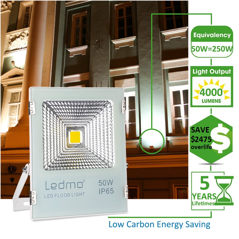 Ledmo 50w Led Flood Lights Waterproof Ip65 Daylight White Wiring In Series Free Download Diagrams Pictures 6000k Work Light 4000lm 250w Halogen Equivalent Spotlight Security