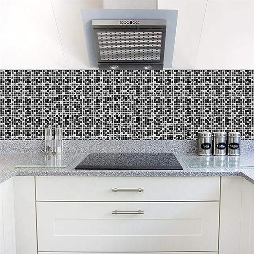 Set de 10 Pcs Stickers Carrelage 3D Adhésif Mural Cuisine Noir Mosaïque  Carrelage Mural 15x15/20x20 cm, Autocollants Carrelage Cuisine et Salle de  ...