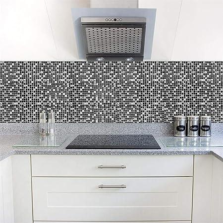 Set De 10 Pcs Stickers Carrelage 3d Adhesif Mural Cuisine Noir
