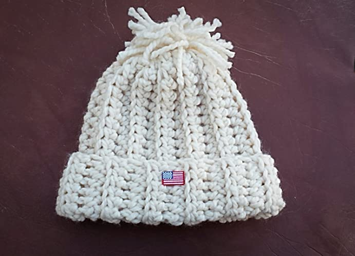 17034fda212 TEAM USA WINTER OLYMPIC STYLE knit look chunky hat (similar to Chloe Kim)  wool blend or acylic - off white- with US Flag - free shipping - ready to  ship-