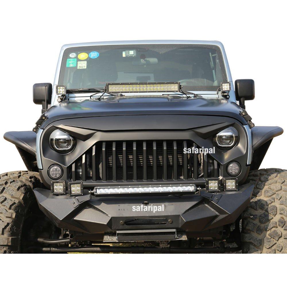 Amazon.com: Safaripal Jeep Wrangler Gladiator Angry Front Grille Grill for Jeep  Wrangler Rubicon Sahara Sport JK 2007-2017 Black: Automotive