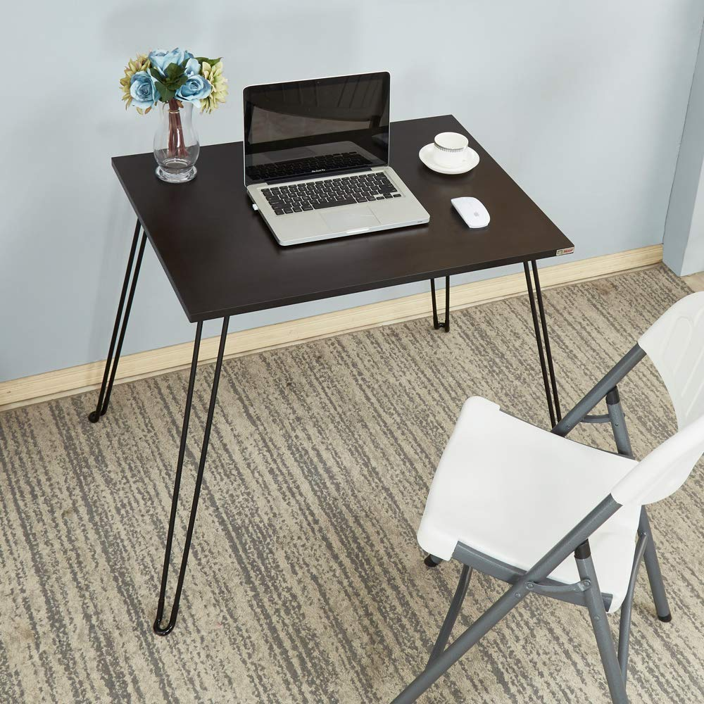 Need Folding Table 31.5 x 23.6 inches Small Computer Desk Portable Table for Working, Writing, Eating, Handwork, Exhibition, Black AC4-8060-CB by Need
