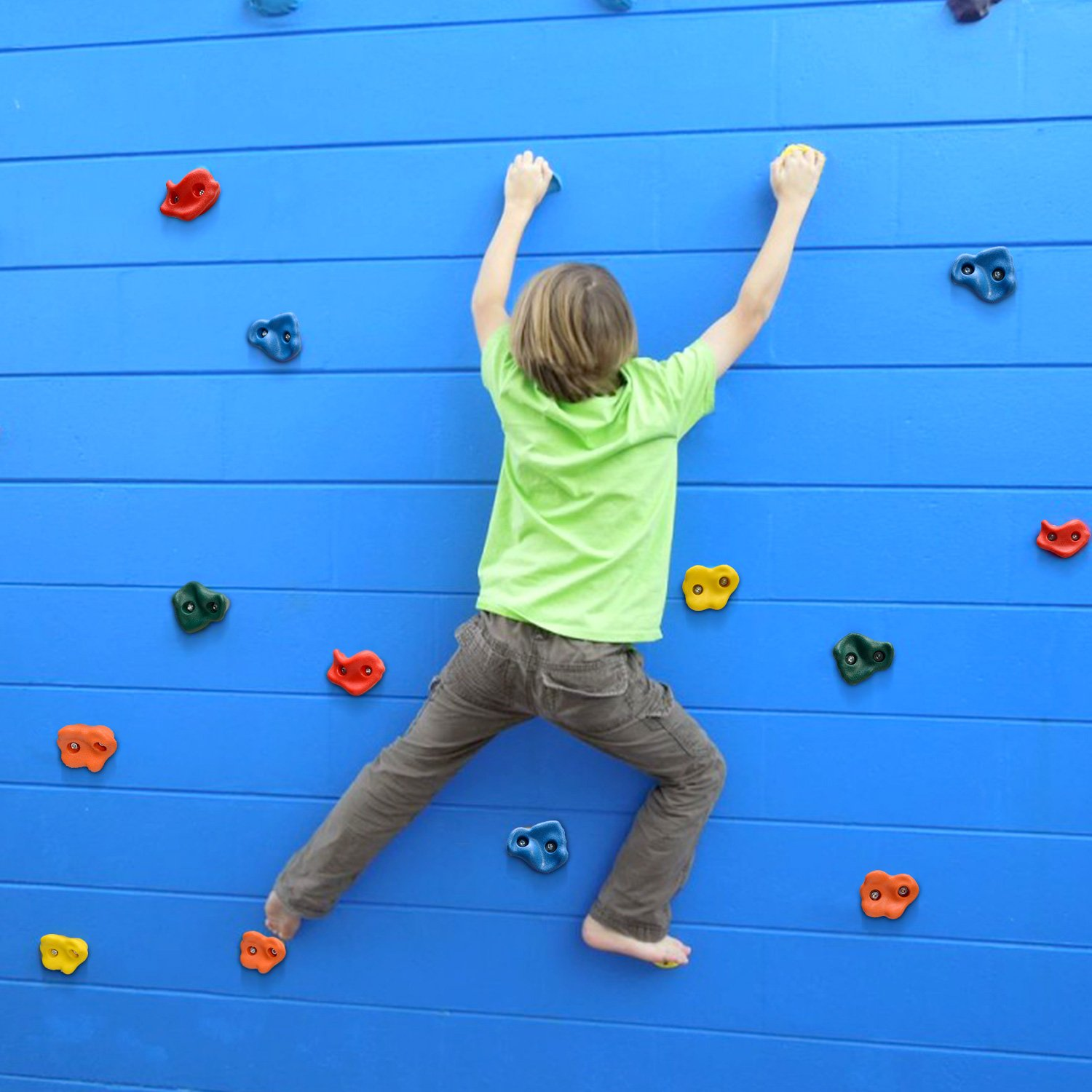 Odoland 20 Textured Rock Climbing Holds For Kids With Installation Hardware Set