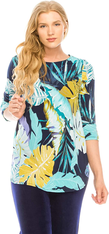 Jostar Women's HIT Rounded Bottom Tunic Top Quarter Sleeve Print
