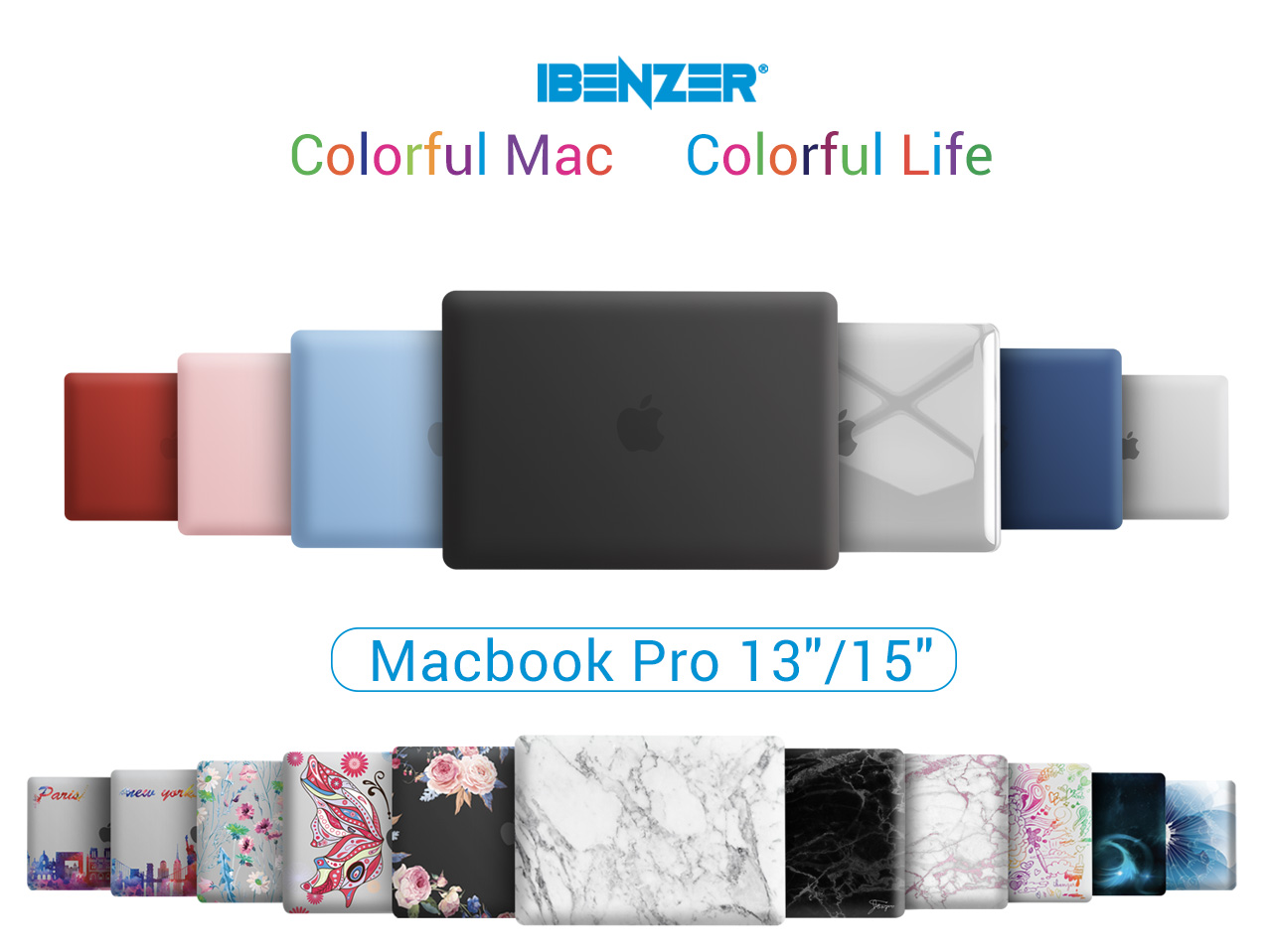 IBENZER MacBook Pro 13 Inch Case 2020 2019 2018 2017 2016 A2251 A2289 A2159 A1989 A1706 A1708, Hard Shell Case with Keyboard Cover for Apple Mac Pro 13 Touch Bar, Black, T13BK+1A