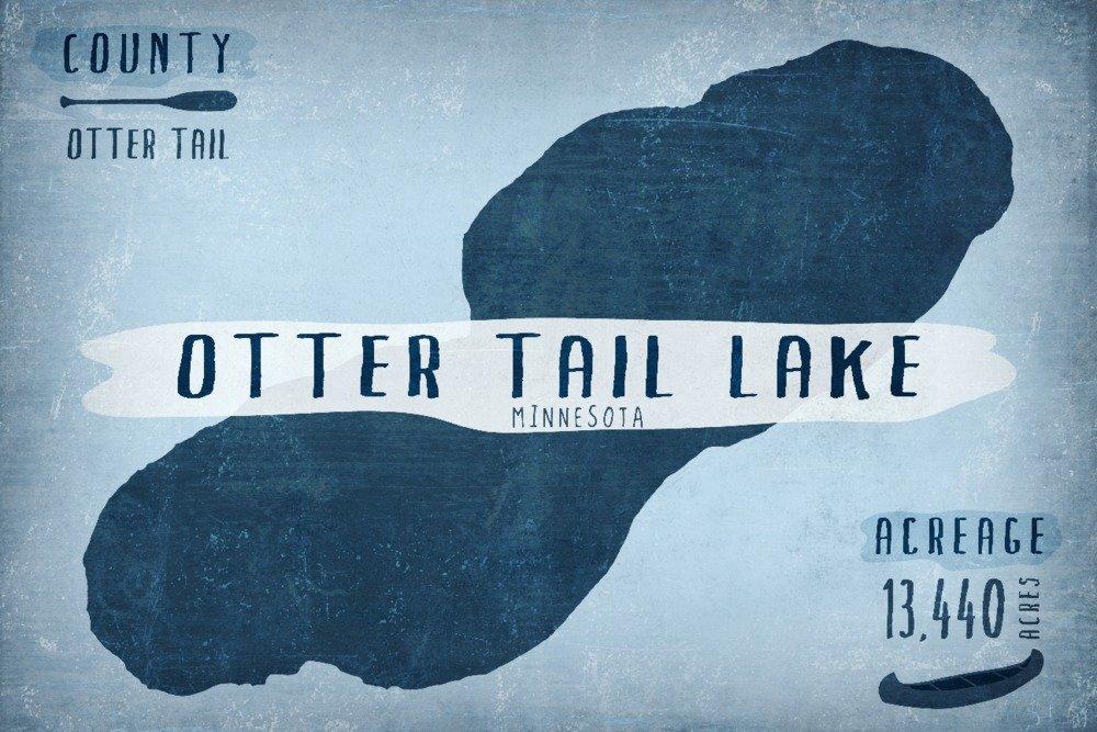 Otter Tail湖、ミネソタ州 – 湖Essentials – 形状、acreageと郡 24 x 36 Giclee Print LANT-74674-24x36 B01DZ26N4Q  24 x 36 Giclee Print