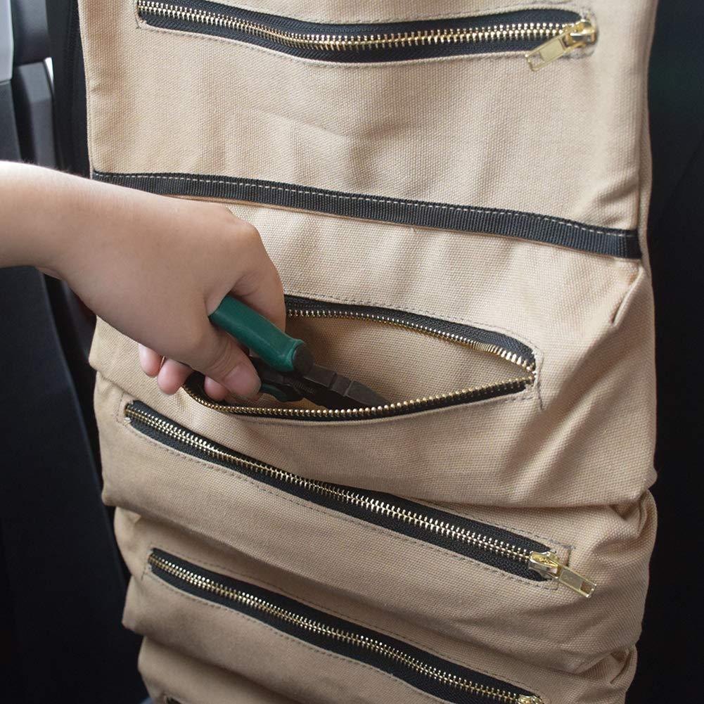 pochette pour cl/é /à molette trousse de premiers secours pour le camping menuisier Lanzou Sac /à outils multifonction enroulable en toile seau de rangement pour voiture plombier pour /électricien