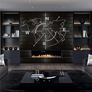 "Metal World Map Wall Art Compass, Silver Grey World Map Without Borders, Metal Wall Decor, Metal Sign, Wall Hangings (39"" W x 30"" H / 98x75 cm)"