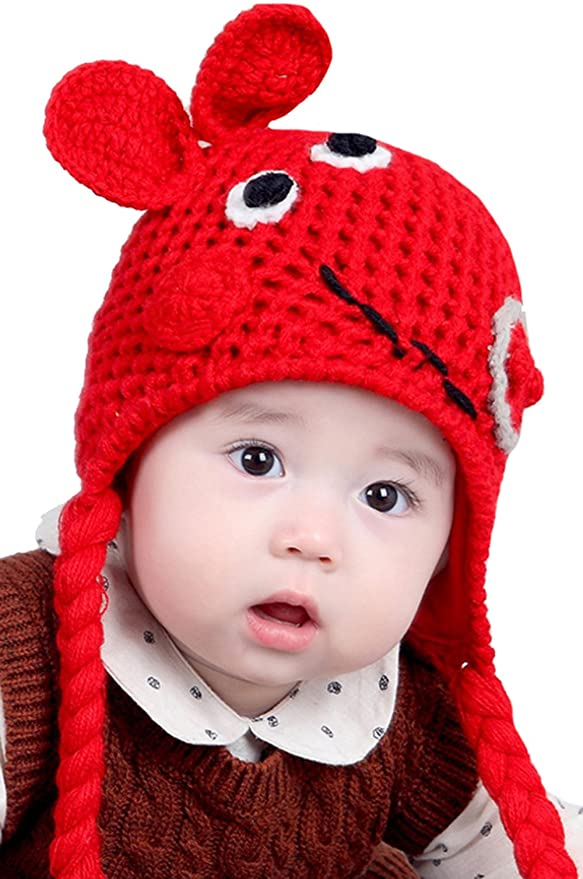 Amazon.com  ZEHAT Handmade Knitted Wool Crochet Hat Baby Girls Boys Caps  Winter Warm Beanie Headwrap accessories (Grey Dark Grey Red)  Clothing ca425e12bd2f