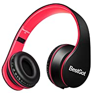 BestGot Headphones for Kids Boys Over Ear Kids Headphones with Microphone in-line Volume with Cloth Bag Foldable Headphones with 3.5mm Plug Removable Cord (Black/Red)