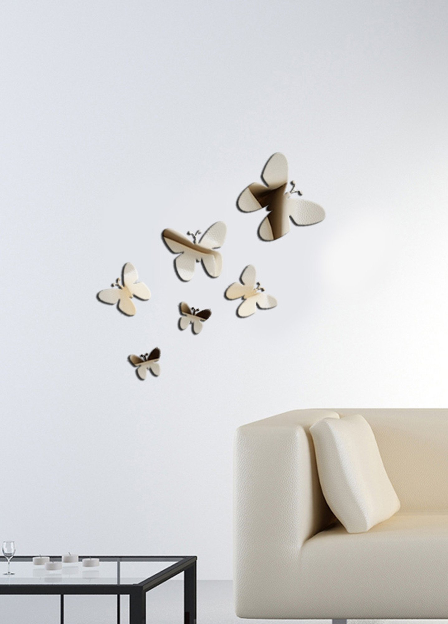Decorative Removable Wall Sticker Mirror PLEXIGLASS (23.6'' x 23.6'') Number of Pieces 6 / Design Geometric Modern Pattern Butterfly Animal Cute / Background Decoration Perfect Design For Home, Office,