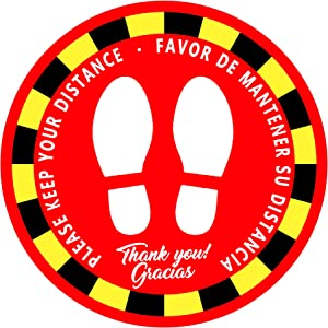 "Social Distancing Floor Decals - Please Keep Your Distance, 12"" Round Safety Floor Sign Marker Maintain 6 Feet Distance, Anti-Slip, Commercial Grade White & Red (12-Pack)"