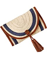 YoungSoul Women Straw Clutch Bag Summer Beach Woven Crossbody Bag with Tassels