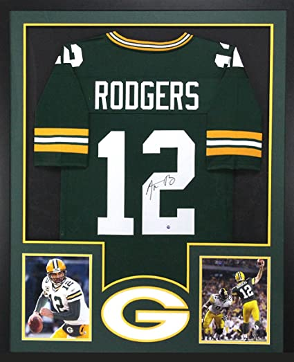 Aaron Rodgers Autographed/Signed Green Bay Packers Framed Green ...
