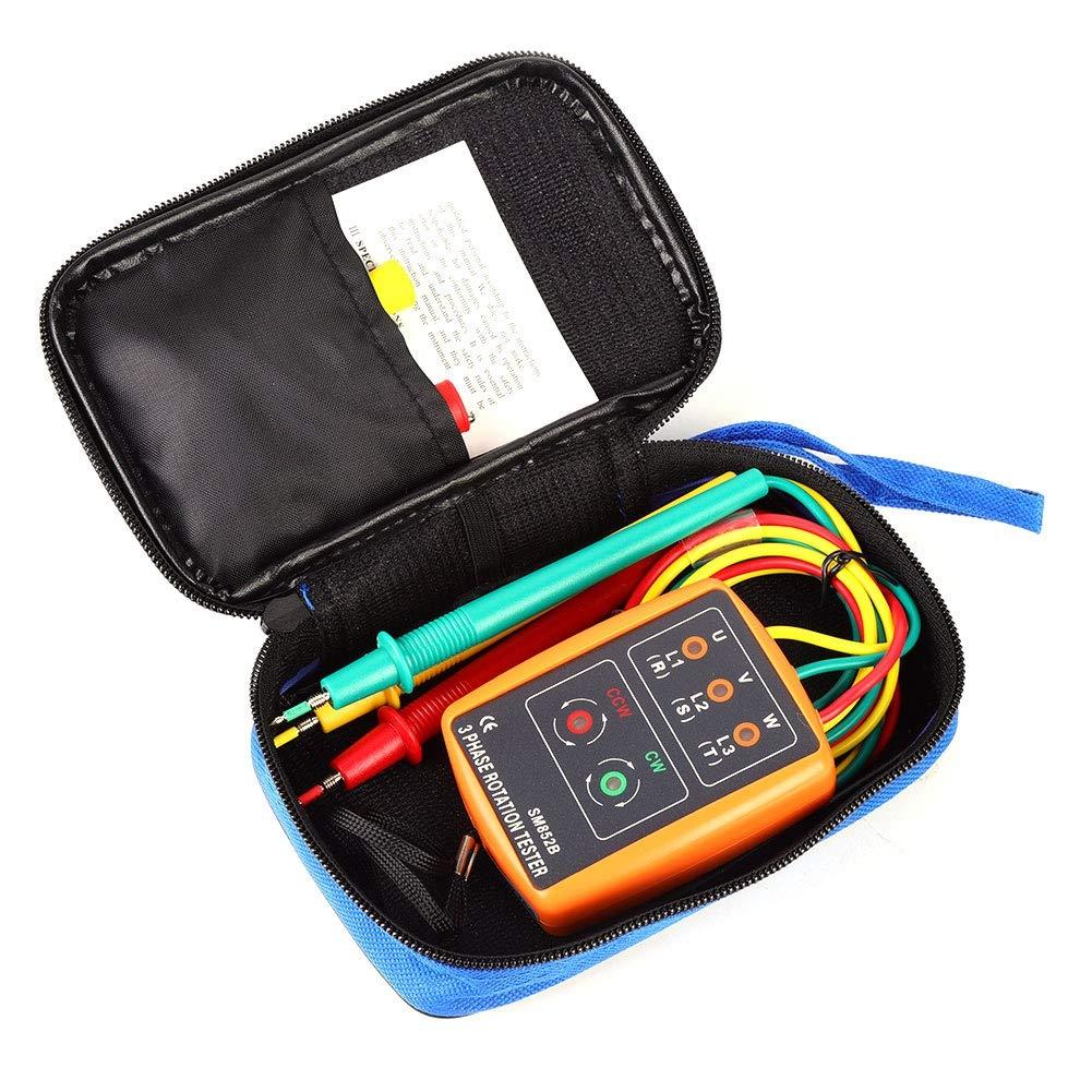 Probador de rotaci/ón trif/ásico Indicador de secuencia de CA SM-852B Probador de indicador de rotaci/ón de orden de secuencia de 60V ~ 600V CA 20Hz-400Hz