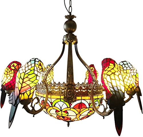 FUMAT Parrot Tiffany Chandelier Light Fixture 6 Heads Stained Glass LED E26 Ceiling Fixtures 110V Pendant Lamp