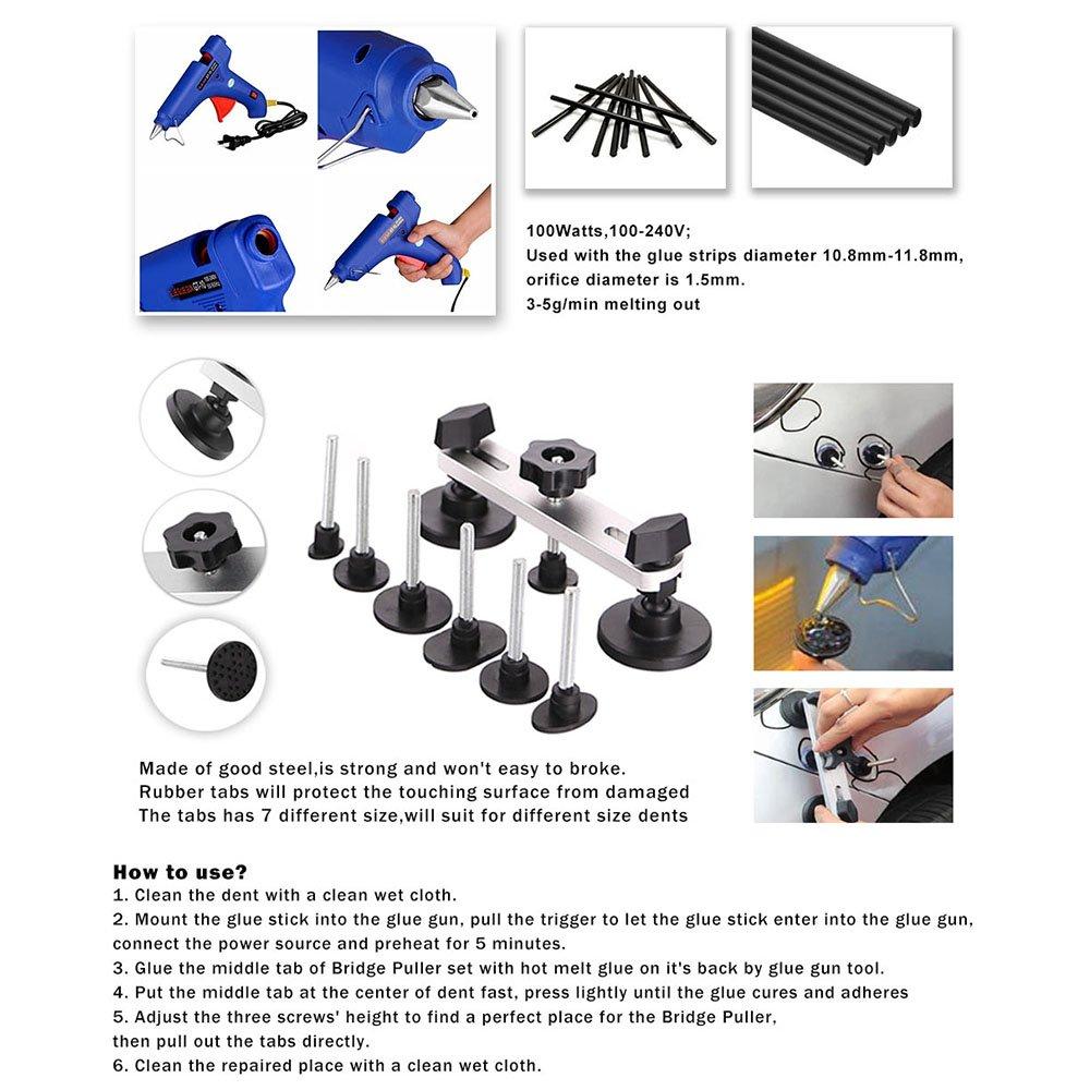 WHDZ Paintless Dent Repair Tools Kit, Tool Kit for Hail Damage Removal - 21pcs Paintless Dent Rods Dent Puller Slide Hammer Dent Lifter Glue Gun Tap Down Light Reflect Board Auto Dent Repair Kit by WHDZ (Image #5)