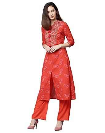 cf9d195ab1 Jaipur Kurti Women Ethnic Casual Tunic Top Summer Dress Floral A-Line Cotton  Kurta & Palazzo (Red & Orange): Amazon.co.uk: Clothing