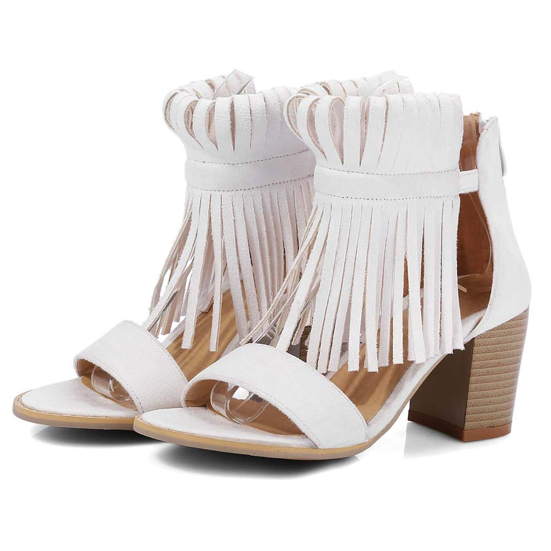 Beige RuoYuan sandals Summer Black White Big Size 32-43 Chunky Heel shoes