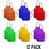 12 Pack Children Painting Aprons - Senfhome Assorted Colors Children's Art Smock & Non-woven Fabric Aprons for Kitchen, Classroom, Painting Activity.