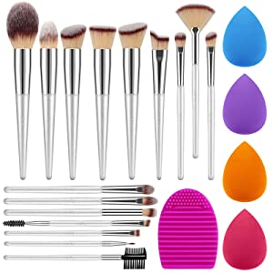 Syntus Makeup Brush Set, 16 Makeup Brushes & 4 Blender Sponges & 1 Brush Cleaner Premium Synthetic Foundation Powder Kabuki Blush Concealer Eye Shadow Pure Silver Makeup Brush Kit
