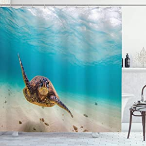 Ambesonne Hawaiian Shower Curtain, Underwater Scuba Diving Sea Turtle Nature Animal Swimming Wildlife Theme, Cloth Fabric Bathroom Decor Set with Hooks, 75