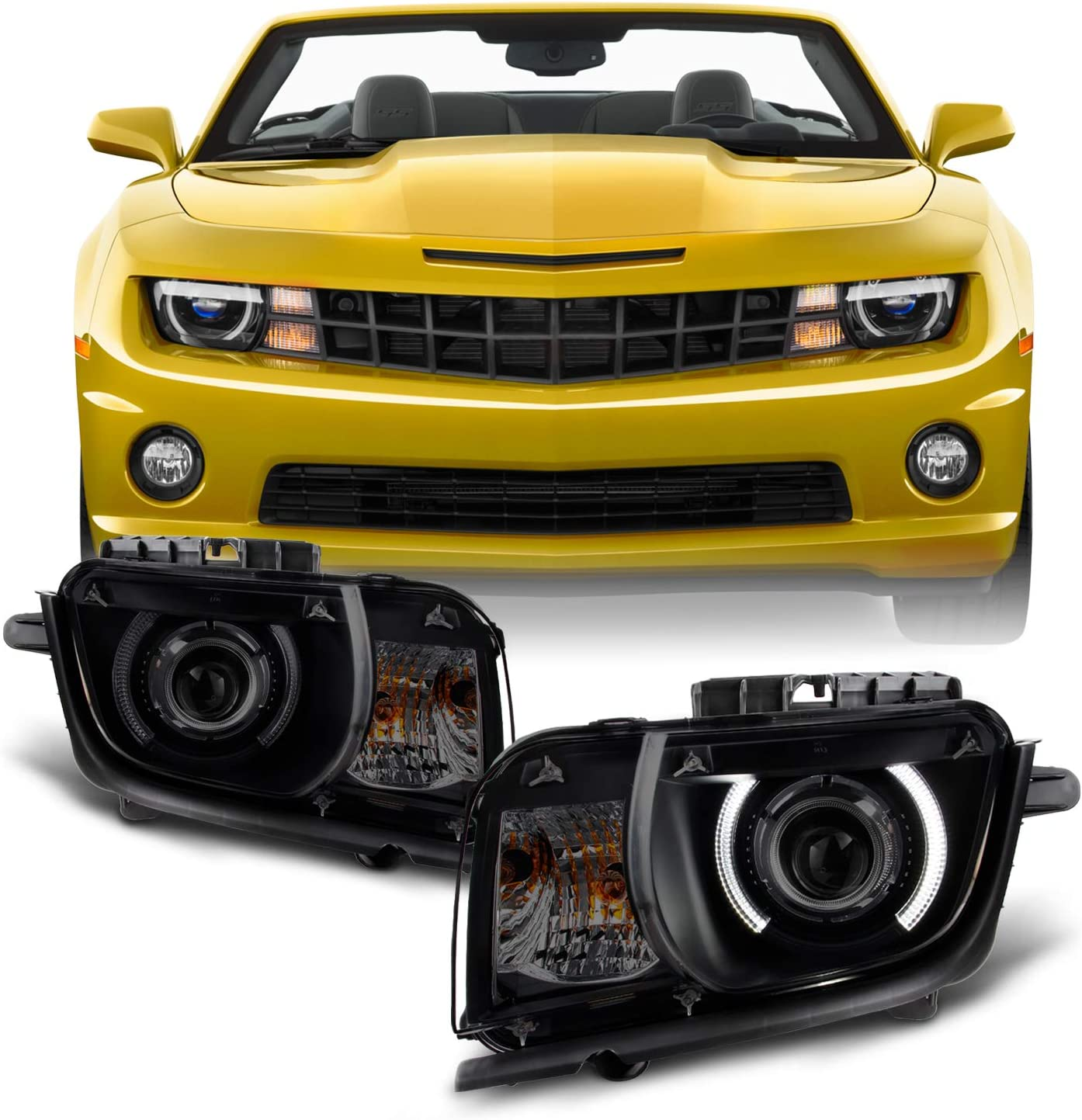 Amazon Com For Black Smoked 2010 2011 2012 2013 Chevy Camaro Driver Passenger Both Side Projector Headlights Set Automotive