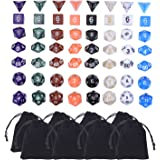 Blulu Polyhedral Dice 8 Game Dice Set 8 Colors with 8 Pack Pouches for Dungeons and Dragons, 56 Pieces