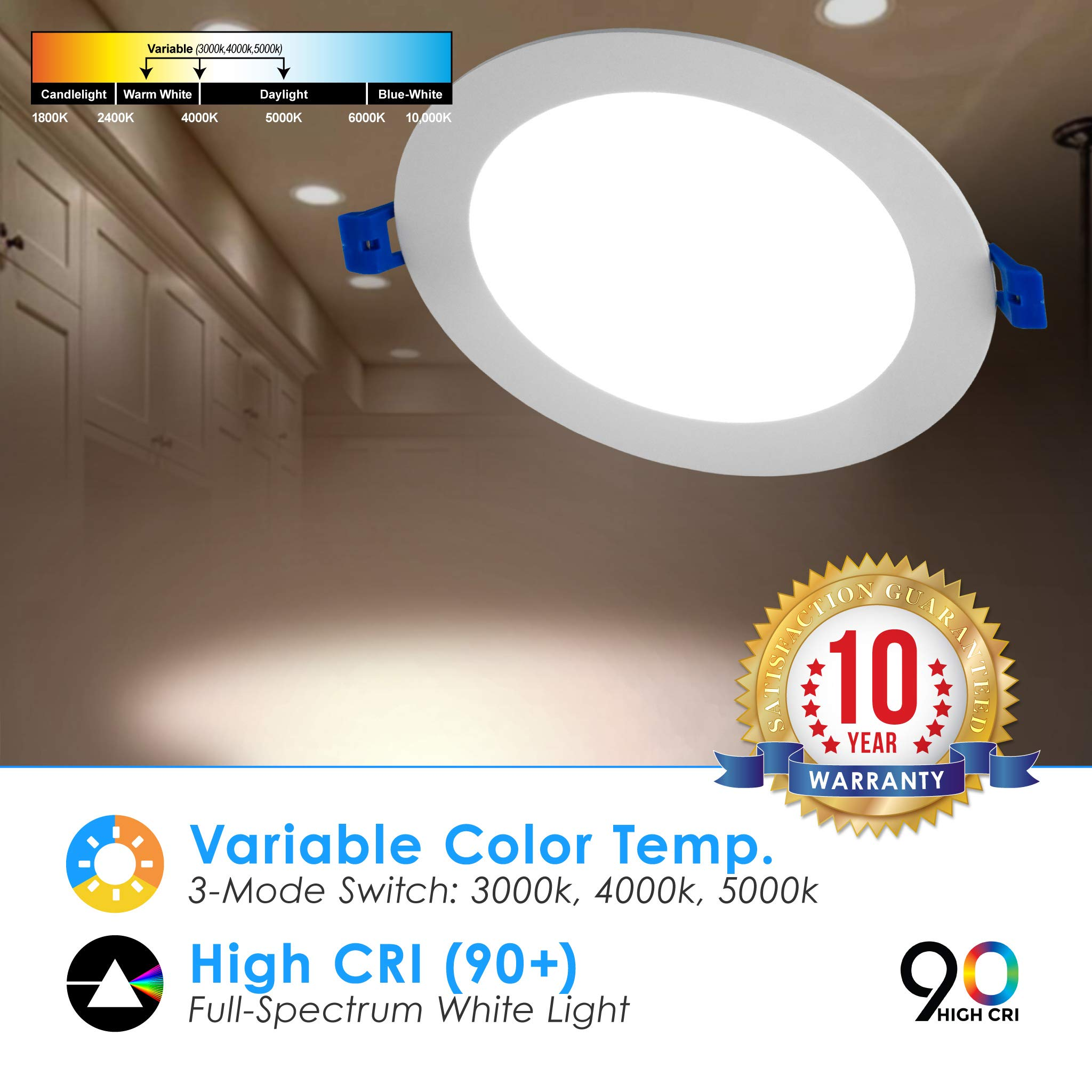 6'' Slim Recessed Panel Ceiling Downlight Ultra Thin Wafer with Junction Box; 14W=50W Equivalent; 3-in-1 CCT: 3000k/4000k/5000k, 950 lumens, 120V, Dimmable, IC Rated, ETL/ES/JA8 (18 Pack) by Quest LED (Image #7)