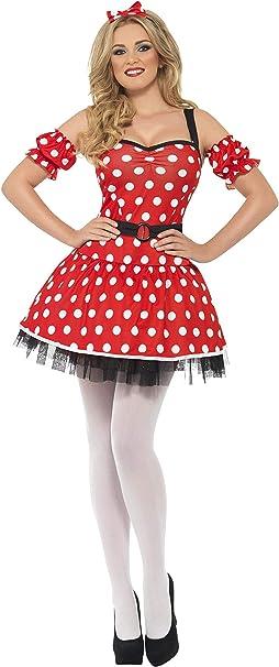 Womans Mini Mouse Fancy Dress Costume Ladies Madame Mouse Dress Headband Cuffs