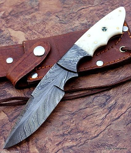 Amazon.com: Cuchillo de esquí Damasco hecho a mano, patrón ...