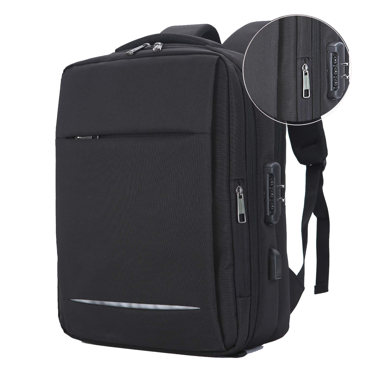 YOUPECK Anti-theft Laptop Backpack Business Bags with USB Charging Port Lock, Water Resistant College School Bookbag Travel Pack Fits Under 15.6 Inch Laptop, Black