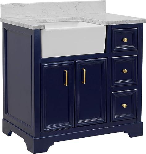 Zelda 36-inch Bathroom Vanity Carrara Royal Blue Includes Royal Blue Cabinet with Authentic Italian Carrara Marble Countertop and White Ceramic Farmhouse Apron Sink